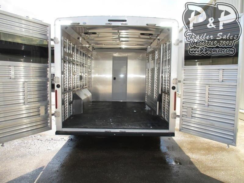 2020 Bison Trailers 8011LDSTLT 16' Stock w/Mid Tack 11' Short Wall w/Slide-Out 36 ft Livestock Trailer LQ