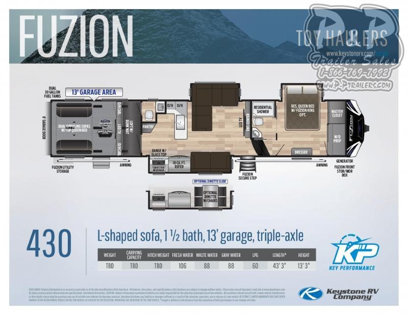 "2020 Keystone Fuzion 430 43' 3"" ft Fifth Wheel Campers RV"