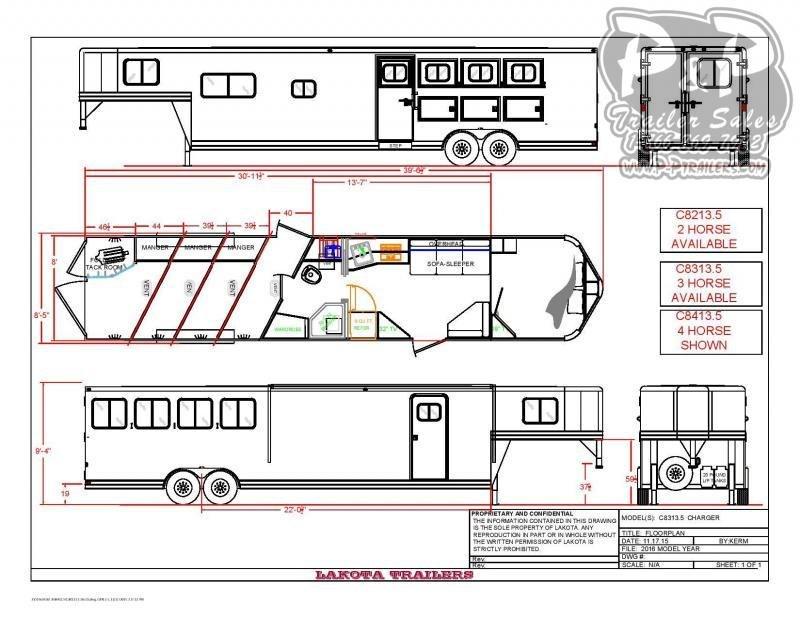 2020 Lakota C8313.5NS 3 Horse Slant Load Trailer LQ