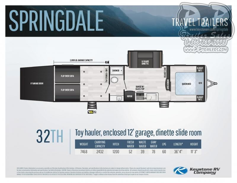 "2020 Keystone Springdale 32TH 36' 4""' Toy Hauler RV LQ"