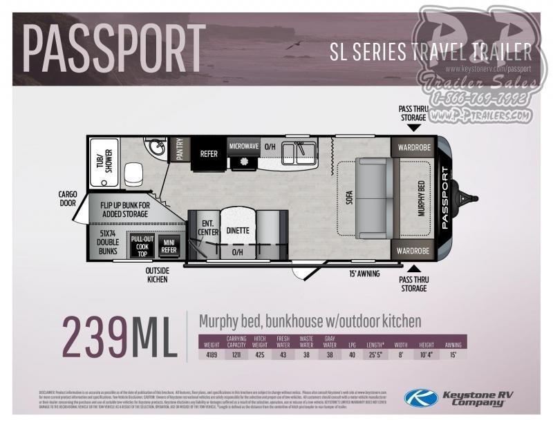 "2020 Keystone Passport SL Series 239ML 25' 5"" ft Travel Trailer RV"