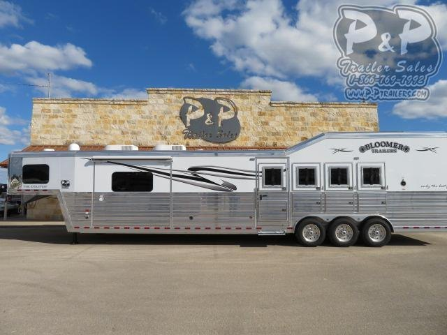 "2020 Bloomer PC Load Outlaw Conversion w/ Bunk Beds 4 Horse Slant Load Trailer 17' 4"" FT LQ With Slides w/ Ramps"