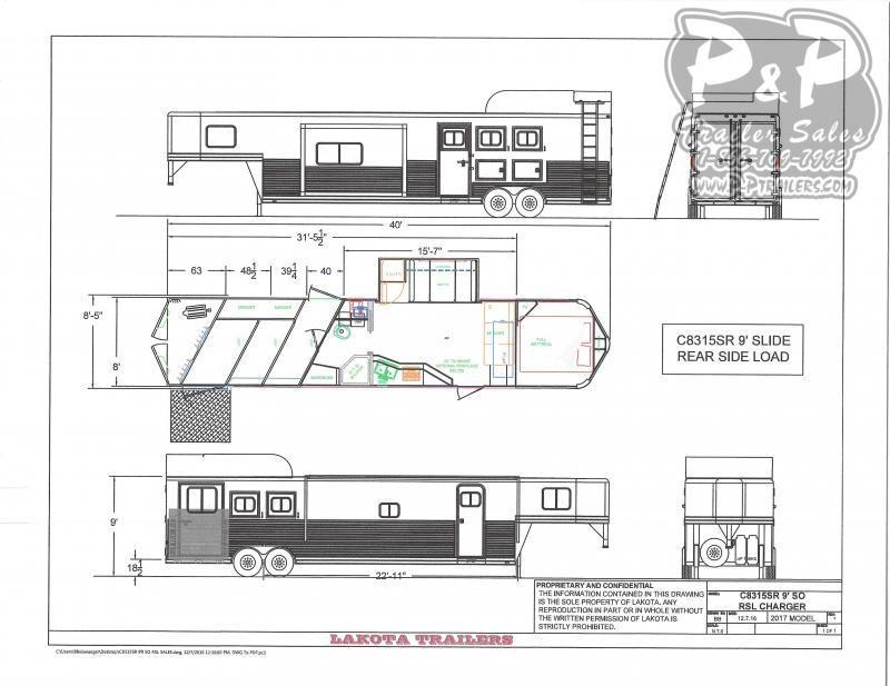2020 Lakota Charger C8315SRRSL 3 Horse Slant Load Trailer 15 FT LQ With Slides w/ Ramps