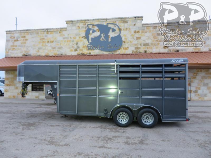 2018 Delta Manufacturing 8ft Stock box 16 ft Livestock Trailer LQ
