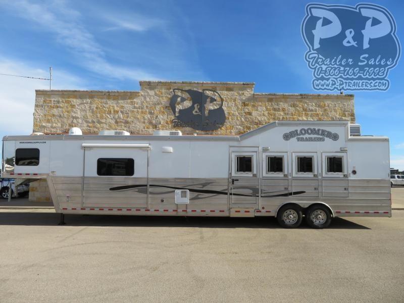 """2013 Bloomer 8418OL 4 Horse Slant Load Trailer 17'9"""" FT LQ With Slides"""