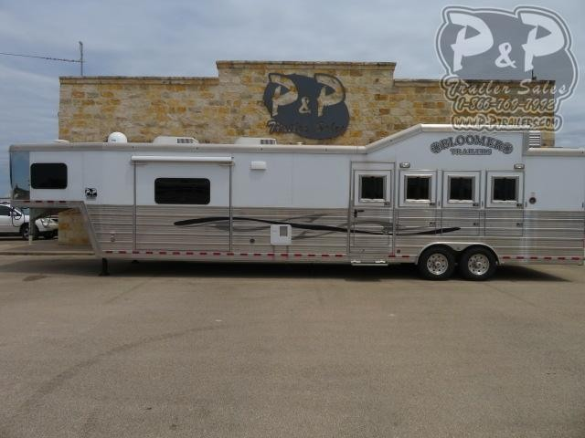 2013 Bloomer 8418 Outlaw Conversions 4 Horse Slant Load Trailer 17.75 FT LQ With Slides