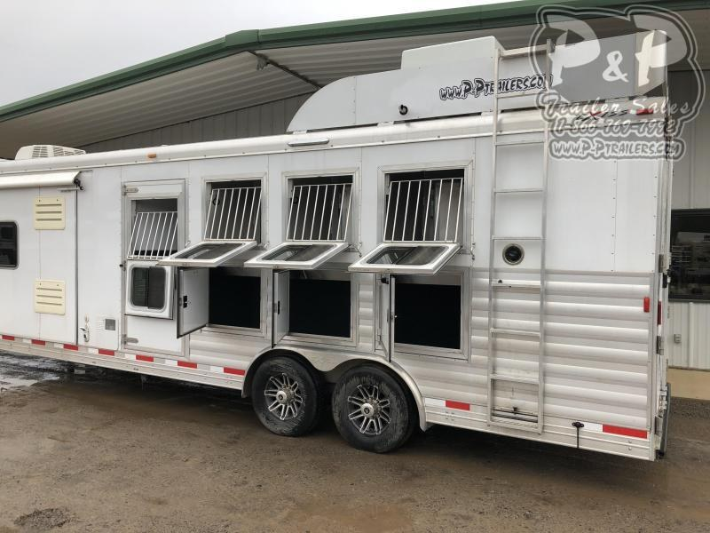 2018 Exiss Trailers 8412 4 Horse Slant Load Trailer LQ With Slides