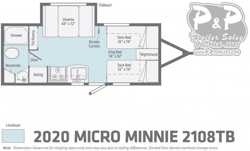 "2020 Winnebago Micro Minnie 2108TB 22' 5"" ft Travel Trailer RV"