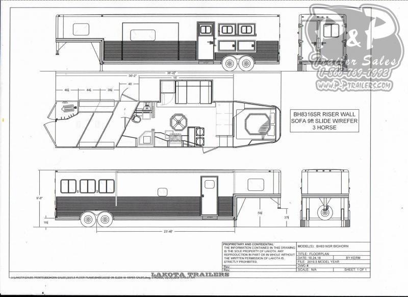 2020 Lakota BH8316SRB 3 Horse Trailer 16 LQ With Slides Slant