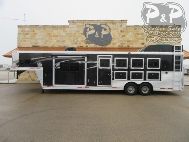 2016 Lakota 8411 4 Horse Slant Load Trailer 11 FT LQ With Slides w/ Ramps