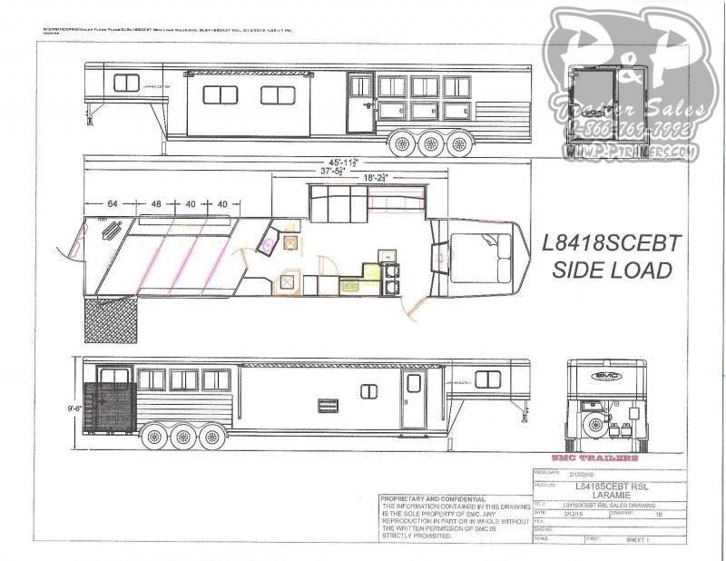 2020 SMC Horse Trailers SL8418SCEBT 4 Horse Slant Load Trailer 18 FT LQ With Slides w/ Ramps