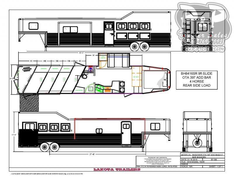 2020 Lakota Big Horn BH8416TSRBRSL 4 Horse Slant Load Trailer 16 FT LQ With Slides w/ Ramps