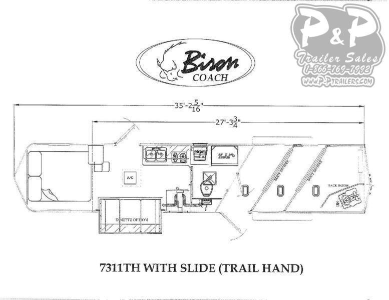 2020 Bison Trailers Trail Hand 7311TH 3 Horse Slant Load Trailer 11 FT LQ With Slides