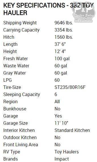 2020 Keystone Impact 332 37.50 ft Toy Hauler RV