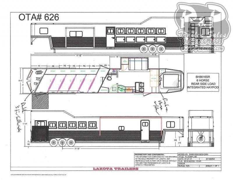 2020 Lakota Bighorn BH8616SRT 6 Horse Slant Load Trailer 16 FT LQ With Slides w/ Ramps