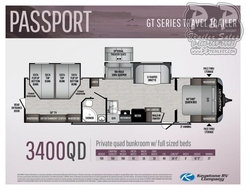 "2020 Keystone Passport 3400QD 38' 4"" ft Travel Trailer RV"