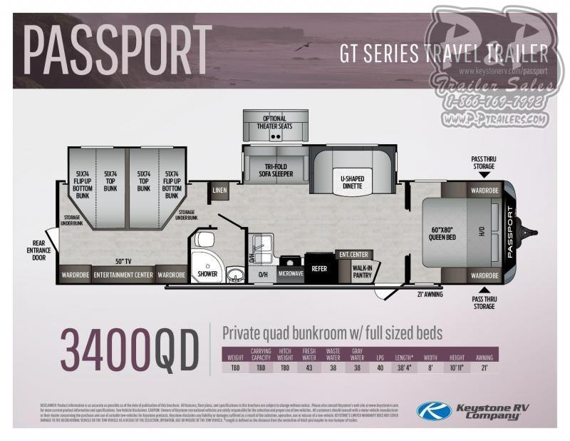 "2021 Keystone Passport 3400QD 38' 4"" ft Travel Trailer RV"