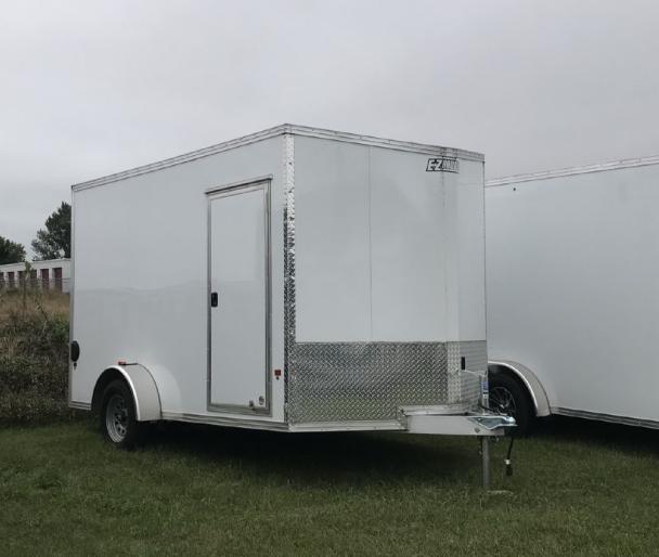 2020 EZ HAULER 6X10 Enclosed Cargo Trailer - WHITE - Ramp Door