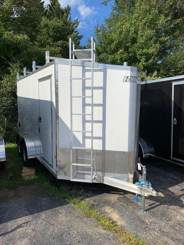 2019 EZ Hauler 7X14 Ultimate Contractor Pkg Enclosed Trailer w/ BARN DOORS - WHITE