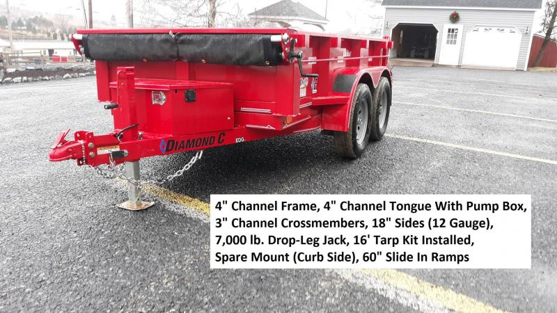"Diamond C General Duty Dump Trailer 10'x60"" 7K -60"" Slide In Ramps -4"" Channel Frame -Spare Mount -16' Tarp Installed -18"" Sides -12 Gauge Sides & Floor -15"" Radial Tires"