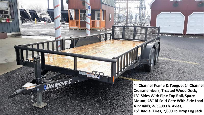"Diamond C General Tandem Utility Trailer 16'x83"" 7000 GVWR :Metallic Gray -4"" Channel Frame & Tongue -2-3,500 Lb. Braking Axles -7K DropLeg Jack -2-3/8"" Pipe Top Rail -48"" Bi-Fold Gate -Front Side Ramp Package -15"" Radial Tires (Black)"