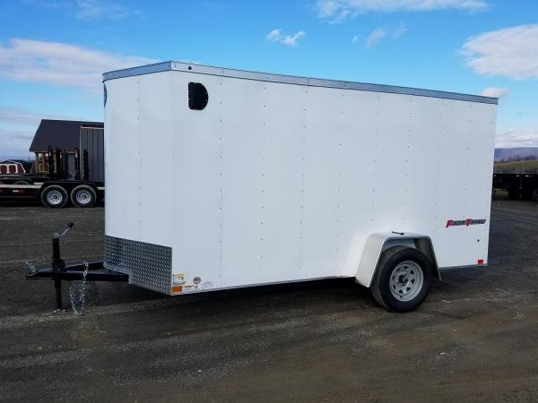 "Wells Cargo FastTrac Single Axle Enclosed 6x12 2,990 GVWR -Ramp Door -V-Nose -White Color -32"" Side Door -"
