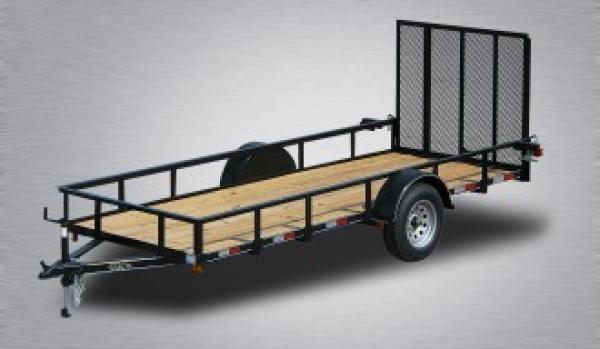 """General Duty Single Axle Landscape 14'X77"""" -4' Landscape Gate -3""""x3""""x3/16"""" Angle Frame -3"""" Channel Tongue -2""""x2"""" Angle Top Rail -15"""" Nitrogen Filled Radial Tires"""