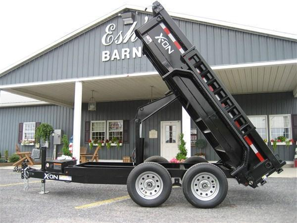 """X-ON Low Profile Dump 60""""x10' 10K Flat Tan Paint -Spare Included -Scissor Lift -5' Slide In Ramps -6"""" Channel Frame -Tarp Kit Installed -LED Lights -10 Gauge Floor -Spare Mount -Toolbox & Battery Charger -Power Up & Down -15"""" 10 Ply Radial Tires"""