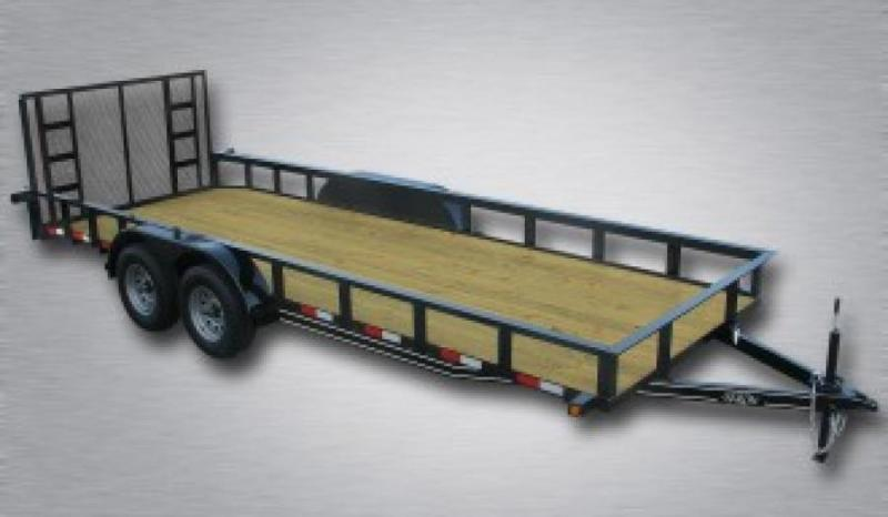 """General Duty Tandem Axle Landscape 18' 7K -4' Spring Assisted Gate -3""""x3""""x3/16"""" Angle Frame -3""""x3""""x3/16"""" Angle Top Rail -4"""" Channel Tongue -2' Dovetail -82"""" Inside Width 15"""" Nitrogen Filled Radial Tires"""
