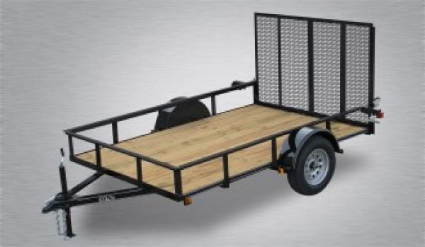 "Economy Single Axle Landscape 12'X77"" 2990 GVWR -4' Full Landscape Gate -2""x2""x3/16"" Angle Frame -2""x2"" Angle Top Rail -3500# Idler Axle -15"" Nitrogen Filled Radial Tires"