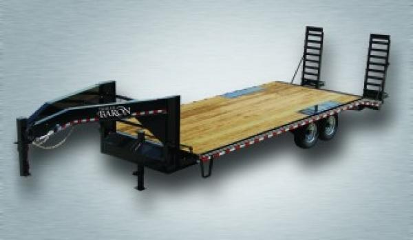 "Pro-Grade Gooseneck Deckover 24' 17K -5' Swing Up Ramps -10"" I-Beam Frame -12"" Uprights with 10"" Neck -12K Jack -7K Braking Axles -16"" Nitrogen Filled Radial Tires"
