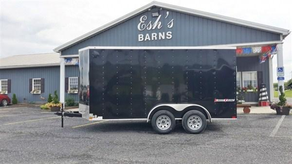 "Wells Cargo FastTracTandem Axle Enclosed 7'x14' 7K -Black -Ramp Door -Side Door -V-Nose -6'6"" Inside Height - Screw Pattern Exterior -15"" Radial Tires"