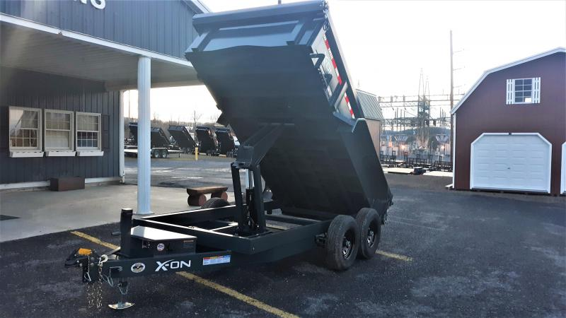 "X-ON Low Profile Dump 72""x12' 10K -Scissor Lift -5' Slide In ramps -6"" Channel Frame -Tarp Kit Installed -LED Lights -10 Gauge Floor -18"" Sides -Spare Mount -Toolbox & Battery Charger -3 Way Gate -Power Up & Down -15"" Radial Tires"