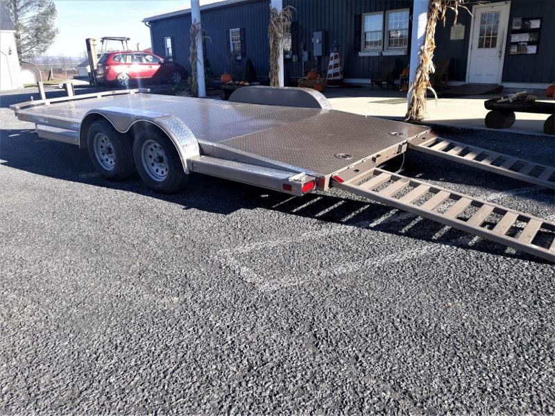 "Diamond C Steel Deck Car Hauler 83""x18' 7K -68"" Tubing Slide In Ramps -5"" Channel Frame -48"" Dovetail -Teardrop Fenders -7K Dropleg Jack -4 D-Rings & 6 Stake Pockets -Spare Mount -15"" Radial Tires"