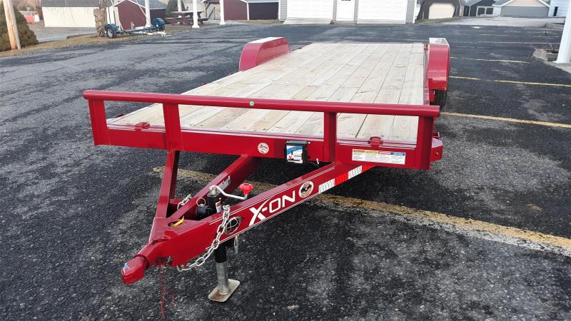 """X-ON Wood Deck Car Hauler 83""""x22' 7K -5"""" Channel Frame -5' Slide In Ramps -5K Jack -Teardrop Fenders -Straight Deck -LED Lights -15"""" Radial Tires"""