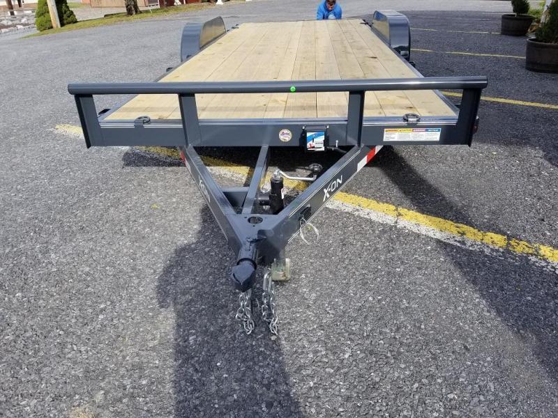 """X-ON Wood Deck Car Hauler 83""""x20' 7K -5"""" Channel Frame -5' Slide In Ramps -5K Jack -Teardrop Fenders -Straight Deck -LED Lights -15"""" Radial Tires"""