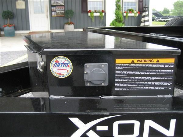 "X-ON Low Profile Dump 83""x12' 14K -Scissor Lift -6"" I-Beam Frame -Tarp Kit Installed -LED Lights -7 Gauge Floor -10 Gauge Sides -Spare Mount -Toolbox & Battery Charger -3 Way Gate -Power Up & Down -16"" 10 Ply Radial Tires"