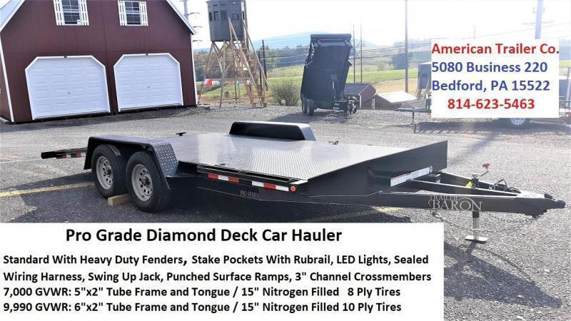 """Pro-Grade Diamond Deck Car Hauler 18' 7K -5' Punched Surface Ramps -5""""x2"""" Tube Frame & Tongue -4' Dovetail -6 D-Rings & Stake Pockets With Rubrail -Heavy Duty Fenders -15"""" 8 Ply Nitrogen Filled Radial Tires"""