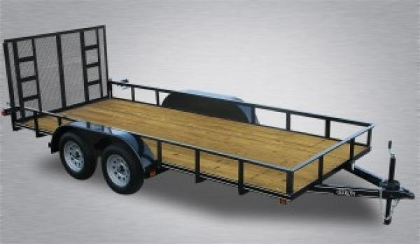 "Economy Tandem Axle Landscape 18' 7K -4"" Landscape Gate -3""x3""x3/16"" Angle Frame -2""x2""x3/16"" Angle Top Rail -4"" Channel Tongue -No Dove -77"" Inside Width -(2) 3,500# Braking Axles -15"" Nitrogen Filled Radial Tires"