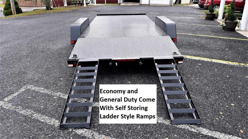 "Economy Diamond Deck Car Hauler 16' 7K -5' Self Storing Ramps -4"" Channel Frame & Tongue -4' Dovetail -6 D-Rings on Floor -Heavy Duty Fenders -15"" Nitrogen Filled Radial Tires"