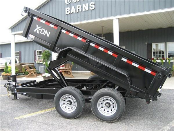 "X-ON Low Profile Dump 83""x12' 14K -Scissor Lift -6"" I-Beam Frame -Tarp Kit Installed -LED Lights -7 Gauge Floor -24"" 10 Gauge Sides -Spare Mount -Toolbox & Battery Charger -3 Way Gate -Power Up & Down -16"" 10 Ply Radial Tires"