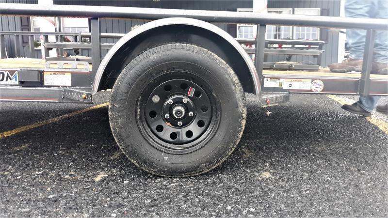 "Diamond C Premium Single Axle Utility Trailer 14'x83"" 2990 GVWR -(Metallic Gray) -4"" Channel Frame -3"" Channel Tongue -1-3500 lb. Idler Axle -48"" Bi-Fold Gate & Side Gate -2-3/8"" Pipe Top -15"" Radial Tires (Black Rim)"