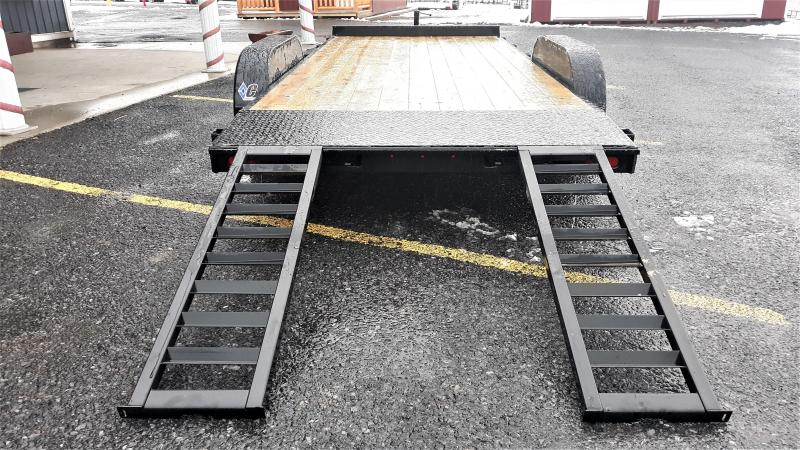 "Diamond C General Tandem Flatbed Trailer 20'x82"" 9890 GVWR :Black Color -5"" Channel Frame& Tongue -5.2K EZ Lube Braking Axles -60"" Rear Slide In Ramps -15"" Radial Tires"