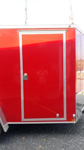 "Wells Cargo Road Force Single Axle Enclosed 6'x10' 2990 GVWR -Victory Red- Ramp Door -V-Nose -Side Door -6'6"" Inside Height - Screwless Exterior"
