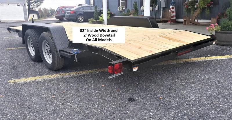 "General Duty Wood Deck Car Hauler 20' 10K -5' Self Storing Ramps -5"" Channel Frame -5"" Channel Tongue -2' Dovetail -Sealed Beam Lighting -Heavy Duty Fenders -15"" Nitrogen Filled Radial Tires"