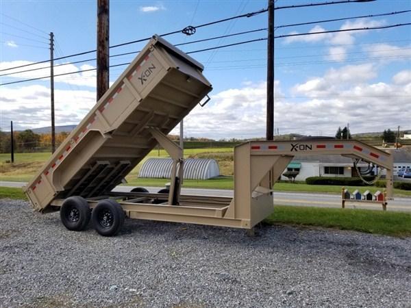 """X-ON Gooseneck Dumper 83""""x16' 14K -Scissor Lift -7 Gauge Floor -6"""" I-Beam Frame -5' Slide In Ramps --10K Drop Leg Jack -Tarp Kit Included -16"""" Radial Tires"""