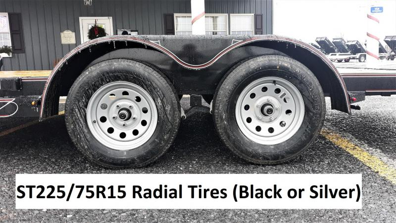 "Diamond C General Tandem Flatbed Trailer 18'x83"" 7000 GVWR :Black Color -5"" Channel Frame& Tongue -3.5K EZ Lube Braking Axles -60"" Rear Slide In Ramps -15"" Radial Tires"
