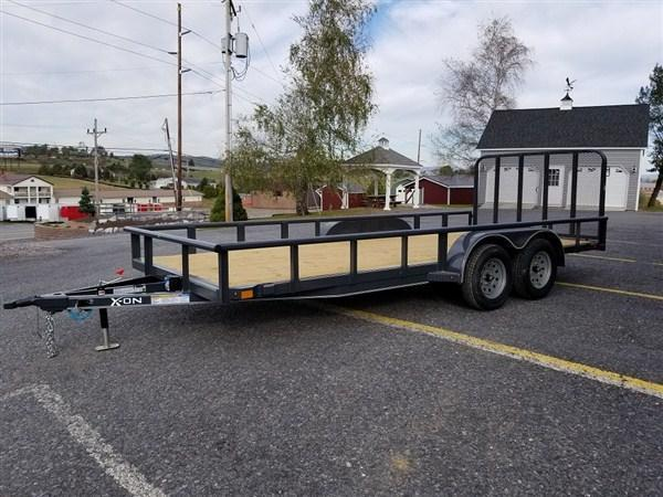 "X-On Tandem Axle Landscape 83""x16' 7K -4"" Channel Frame -2""Pipe Top -Straight Deck -Teardrop Fenders -LED Lights -15"" Radial Tires"