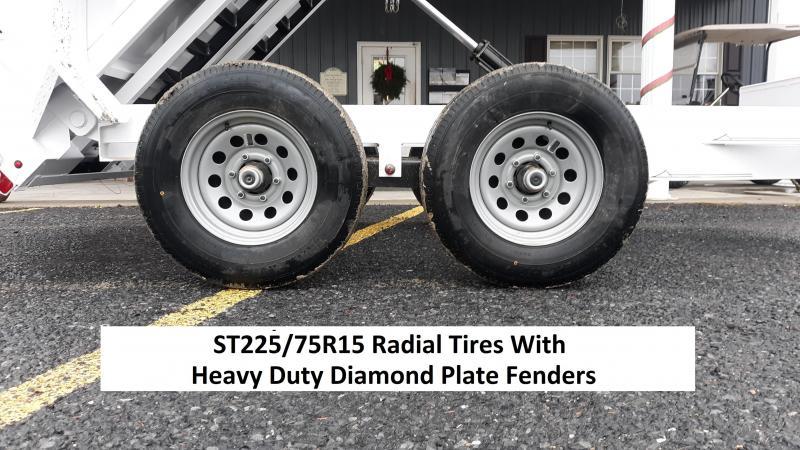 "Diamond C Medium Duty Dump Trailer 10'x60"" 10K (White) 5' Rear Slide In Ramps -5"" Channel Frame -7K Drop Leg Jack -5,200# EZ Lube Braking Axles, 15"" Radial Tires"