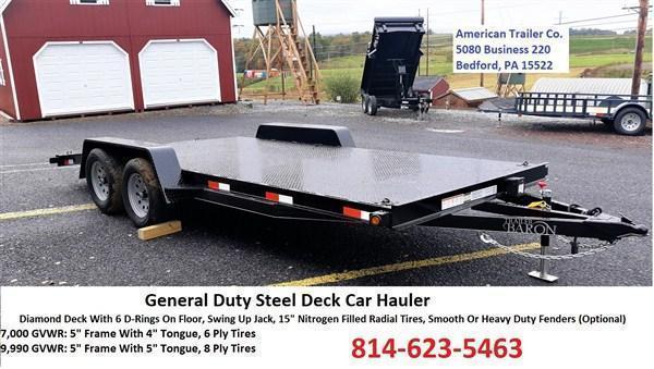 "General Duty Diamond Deck Car Hauler 18' 7K - 5' Self Storing Ramps -5"" Channel Frame -4"" Channel Tongue -4' Dovetail -6 D-Rings On Floor -Heavy Duty Fenders -15"" Nitrogen Filled Radial Tires"